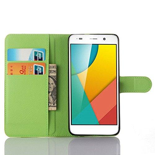 Green Huawei Y6 / Honor 4A 手帳 型 ケース スタンド 機能 PU 合皮 レザー 革 スマホ ケース 保護 カバー スリム 軽量 MarsTech ファーウェイ Y6 / Honor 4A 5 インチ 用ケース