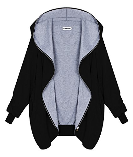 Yidarton Damen Herbst Winter Full Zipper Jacke Hoodie Long Hooded Loose Oversized Parka Kapuzenjacke Cardigan Blazer Mantel Coat