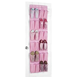 An over-the-door shoe organizer