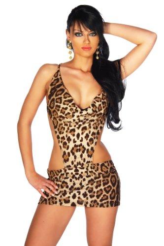 LH Dessous - 12014 Gr.S -L. Sexy Minikleid im Animal Print. Das Kleid hat ein Wasserfall-Dekolleté und einen extravaganten Schnitt. Das Highlight ist die Kette, die am Rücken den Rock mit den Trägern verbindet