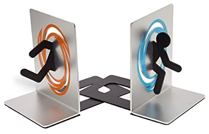 ThinkGeek - Portal Bookends Blue & Orange Portal