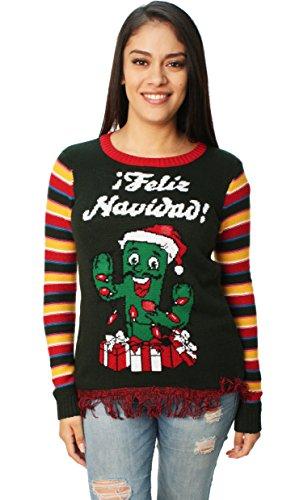 Ugly Christmas Sweater Juniors Light-Up Feliz Navidad Cactus Pullover Fringe