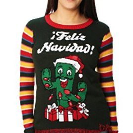 Ugly Christmas Sweater Juniors Light-Up Feliz Navidad Cactus Pullover Fringe