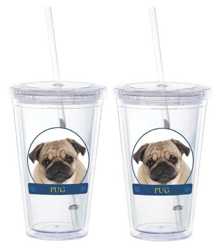 Pug Double-Walled Eco Plastic Drinking Cups 16 oz - Set of Two