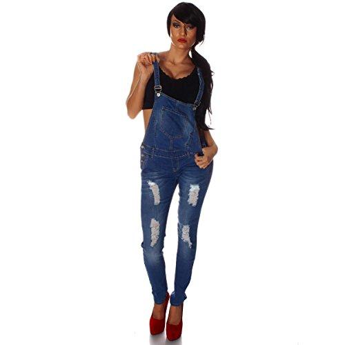 10697 Fashion4Young Damen Latzhose Hose pants mit Träger Röhren Jeans Overall Jeanshose Trägerhose