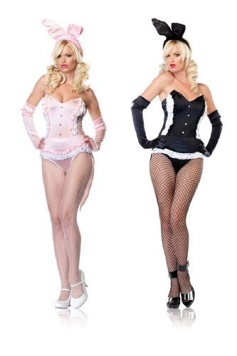 Sexy Womens Adult Playboy Bunny Halloween Costume Outfit Mini Skirt Dress Leg Avenue