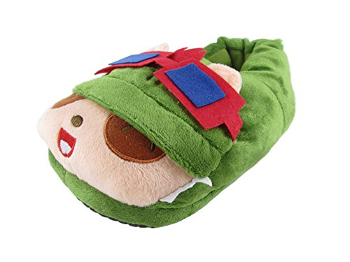 E-Mell Unisex League of Legends Cosplay Swift Scout Teemo Plush Slippers Shoes (One Size, lawngreen)