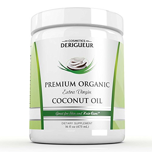 Premium Organic Extra Virgin Coconut Oil By Cosmetics Derigueur ★ 16 Ounces of the Best Cold Pressed Coconut Oil You Can Buy ● All Natural Deep Conditioner for Natural Hair Leaves Your Hair Silky Smooth ● Natural Skin Moisturizer for Men and Women Great for Stretch Mark Prevention ● Natural Massage Oil for Soothing Massages ● Coconut Oil Is Nature's Ultimate Beauty Product