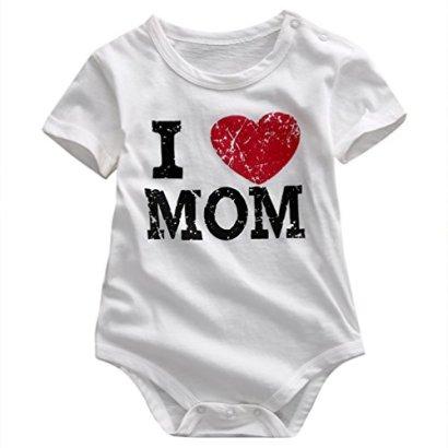 Infant-Baby-Boy-Girl-I-Love-Mom-I-Love-Dad-Family-Clothes-Romper-Onesie-Bodysuit-S0-6months-White