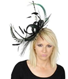 Hats By Cressida Black and Peacock Green Kentucky Derby Fascinator Hat Headband