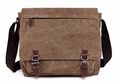 Kenox-Vintage-Classic-Canvas-Laptop-Messenger-Bag-Crossbody-School-Bag-Business-Briefcase-Brown-16-Inches