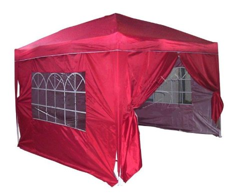 Brand New 3x3m Red Heavy Duty Full Close Pop Up Canopy Tent w/ Improved Features