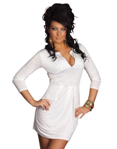 Sexy Langarm Kleid, Minikleid Damen Kleid aus Stretch fähigem Stoff Rundausschnit für Sexy Dokolleté in weiß Uni Gr.34-38