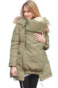 Sweet-Mommy-Maternity-and-Mothers-Down-Coat-with-baby-wearing-pouch