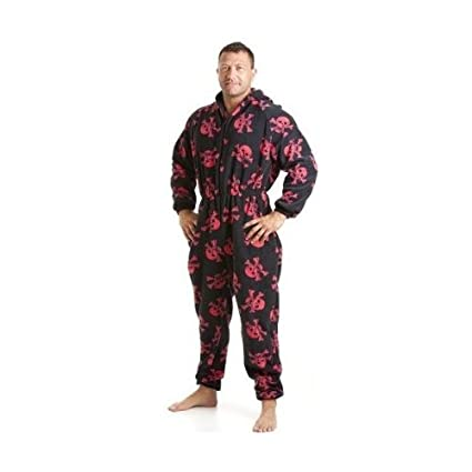 Camille Mens All In One Black And Red Skull Fleece Pocketed Pajamas Onesie XS-L L