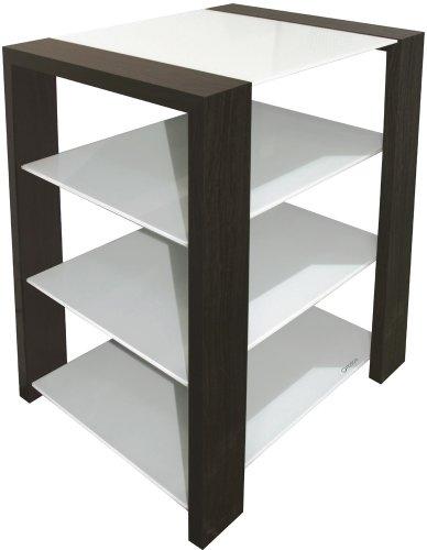 leopaeze norstone kubben meuble hifi 4 etageres zen et contemporain 3 tablettes finition bois et verre blanc