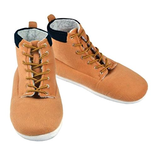 Funky Retro Slipperland Boots Style Mens Plush Hi-Top Slippers - One Size