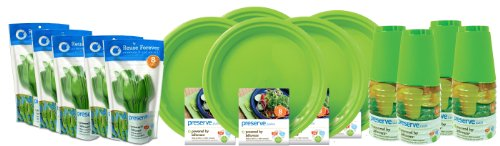 Preserve 120-Piece On the Go Tableware Set, Green