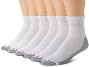 Hanes Men's 6 Pack Full Cushion Ankle Socks, White, 10-13 (Shoe Size 6-12)