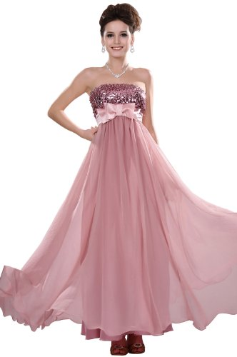 eDressit 2011 Neu Pink Traegerlos Lang Abendkleid mit Paillette Gr.34