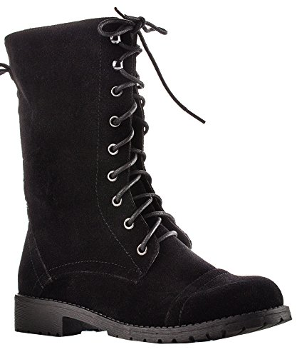 ROF Vegan Leather Lug Heel Ankle to Mid Calf Lace Up Zipper Closure Combat Military Motorcycle Boots Booties with Hidden Pocket BLACK SUEDE-P ( 8 )