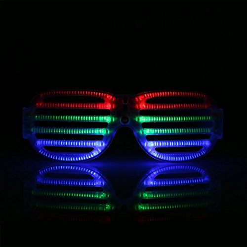 LED Glow Party Glasses Sound Activated Light Up Flashing Sunglasses