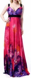 Wantdo-Womens-Casual-Low-cut-V-neck-Printed-Beach-Summer-Long-Maxi-Dress