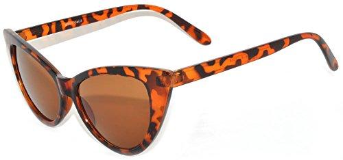 Fashion Style Vintage Cat Eye Sunglasses Leopard Frame Brown Lens