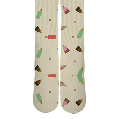 DopeSox Men's Ice Cream Printed Cool Retro Funky Socks One Size (6-12) White