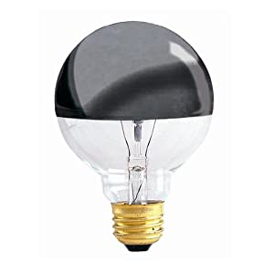 Bulbrite 100G25HM Half Chrome 100W Globe Shape Bulb