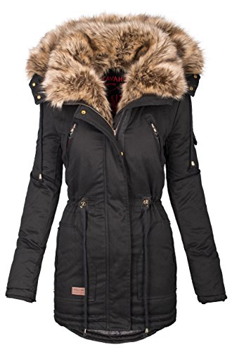 Navahoo warme Damen Winter Jacke Parka lang Mantel Winterjacke Fell Kragen B380