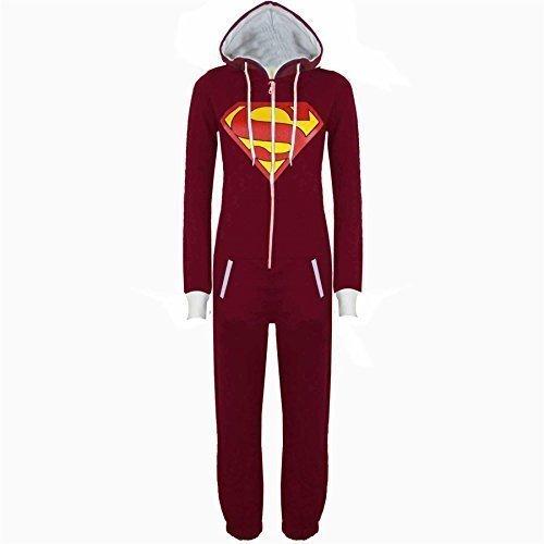 Be Jealous Jumpsuit Damen Overall Superman Batman Herren Einteiler Weinrot (Superman) Größe L