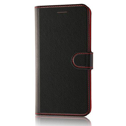 レイ・アウト iPhone7 Plus ケース 手帳型 シンプル マグネットスリム /カード収納×3 /スタンド機能 ブラック/レッド RT-P13ELC1/BR