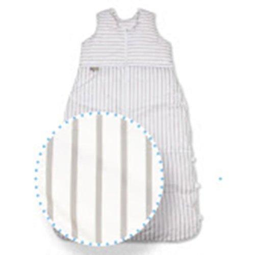 ARO Artländer 87583 Daunenschlafsack 110 cm reduzierbar auf 100 cm und 90 cm, Streifen – weiß/grau Design