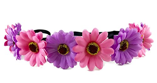 Festie Fever Light Up Purple and Pink Flower Crown with 3 Modes