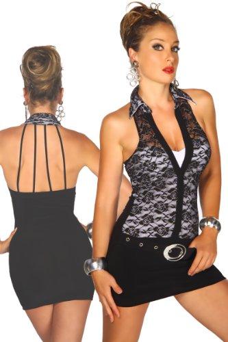LH Dessous - 12018 (schwarz-weiss) Größe M. Ihr Auftritt bitte....Sexy Neckholder-Kleid mit Kragen von Somnia Luna. Inklusive Gürtel mit silberner Schnalle