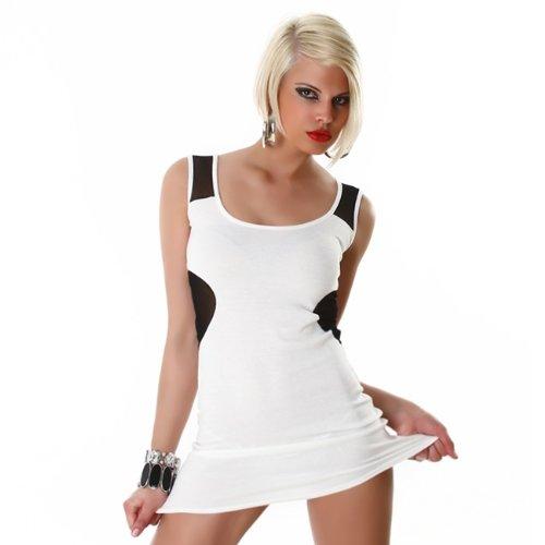 Minikleid mit Spitzeneinsatz weiß