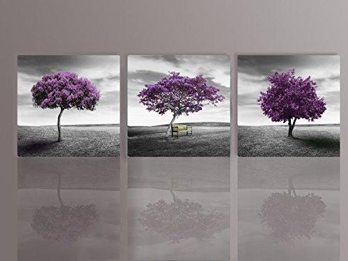 Canvas Print 3 Panels PURPLE TREES Modern
