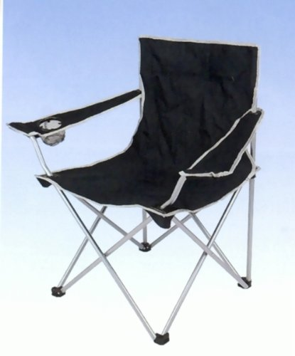 Camping Stuhl Faltstuhl Klappstuhl Angelstuhl Campingstuhl schwarz mit Getränkehalter