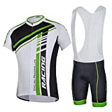 Sponeed Men's Bicycle Jersey Polyester and Lycra Bib Shorts set Size L US Green Multi