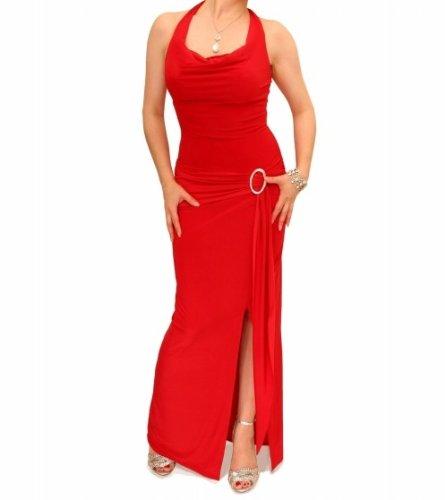 Blue Banana - Neckholder Schnalle Lang Kleid - Rot