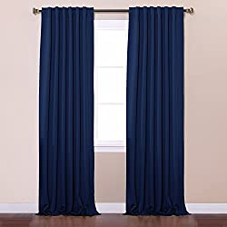 "Best Home Fashion Thermal Insulated Blackout Curtains - Back Tab/ Rod Pocket - Navy - 52""W x 84""L - No tie backs (Set of 2 Panels)"