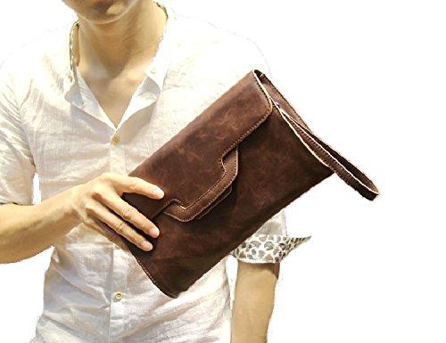 メンズ クラッチバッグ 【ST】 セカンド ハンド 小型 コンパクト バッグ カバン 鞄 PU レザー (タイプE ブラウン)