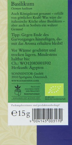 Sonnentor Basilikum, 1er Pack (1 x 15 g) - Bio