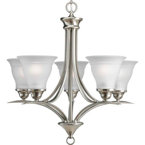 progress lighting p4328 09ebwb trinity collection 5 light chandelier brushed nickel jbgkjdkhll