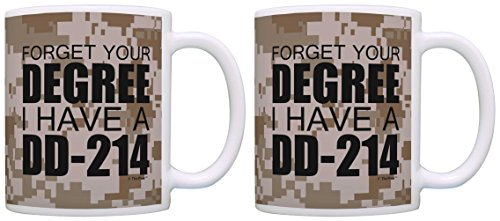 Retired Military Gifts Forget Your Degree I Have a DD-214 2 Pack Gift Coffee Mugs Tea Cups Camo