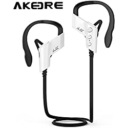 Sport Headphone , AKEDRE® Wireless Sports Bluetooth V4.1 Headphones Sweatproof Running Exercise Stereo with Mic Earbuds Earphones for Iphone 6/6s Plus Galaxy S6 and Android Phones-(White)