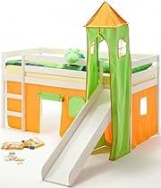 Spielbett mit Rutsche Abenteuerbett BENNY weiß-grün/orange