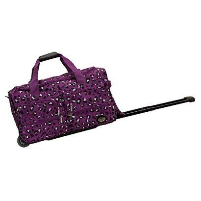 Rockland-22-Inch-Rolling-Duffle-Bag-Purple-Leopard-One-Size