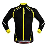 Anhvuu Thermal Fleece Cycling Jersey Shirt Casual Jacket Long Sleeve Black Yellow Size M